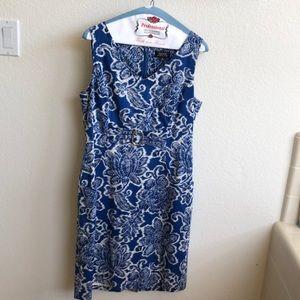Tahari Arthur S Levine Blue/White Floral Dress, 10